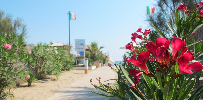 Ingresso spiaggia dello stabilimento Bagni Tamerici ad Isola Verde, isolaverde Chioggia